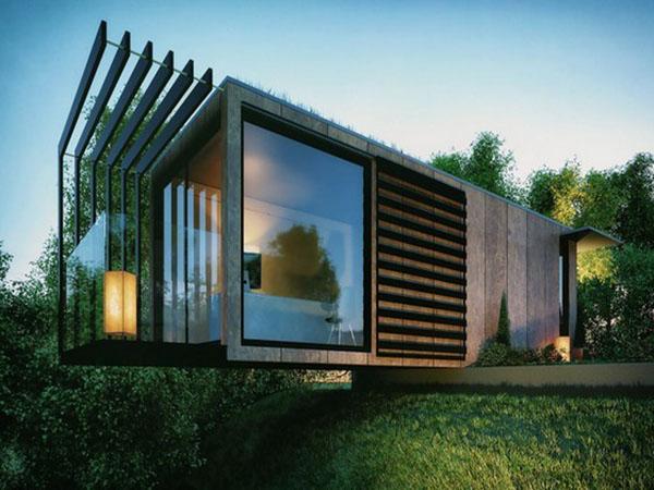 nhà container với kiến trúc chênh vênh